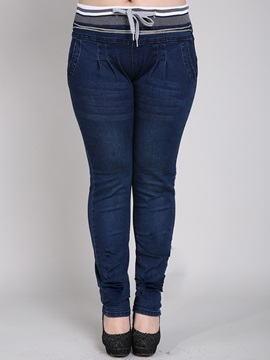 Plus Size High Waist Patchwork Drawstring Jean
