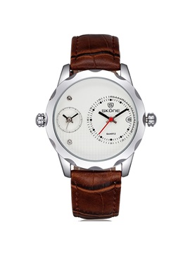 Round Pu Band Business Men Watch