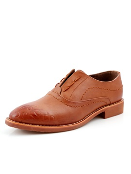 Elegant Embossed Pu Round Toe Dress Shoes