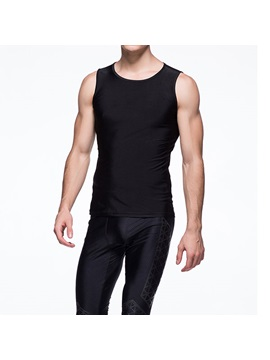 Black Sleeveless Mens Sportswear Running Tank