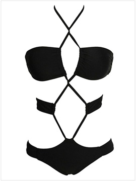 Hot Black Strappy Monokini One Piece Swimsuits