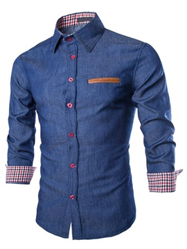 Color Block Chest Faux Pocket Mens Cotton Blend Shirt