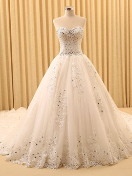 Beaded Sweetheart Cathedral Wedding Dress