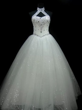Luxurious Halter Sequins Beaded Wedding Dress