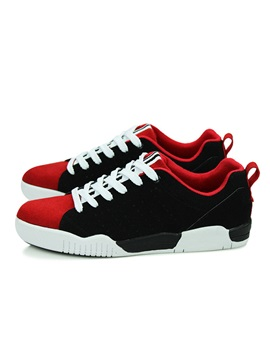 Color Block Suede Lace Up Skater Shoes