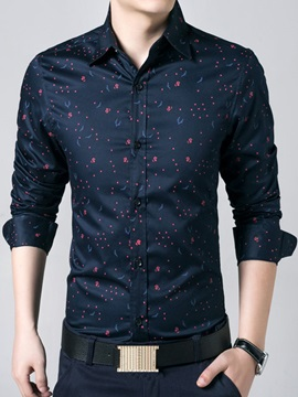 Floral Printed Single Breasted Mens Cotton Blend Shirt