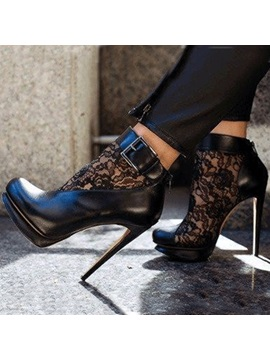 Lace Patchwork Stiletto Black Ankle Boots