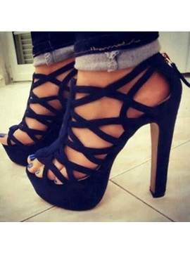 Black Strappy Cut Out Sandals