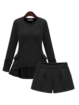 Elegant High Low Sweater Pleated Short