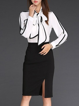 Vogue Tie Neck Long Sleeve Shirt Slit Front Skirt