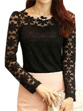 Special Lace Sleeves Slim Work T Shirt