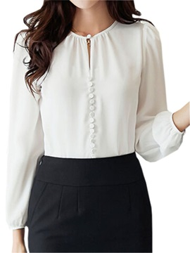 Special Button Decoration Slim Shirt