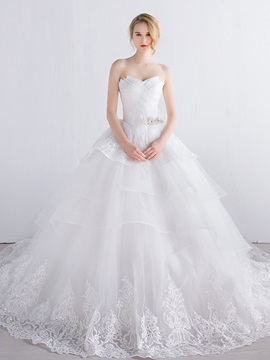 Lace Strapless Tiered Ivory Tulle Ball Gown Wedding Dress