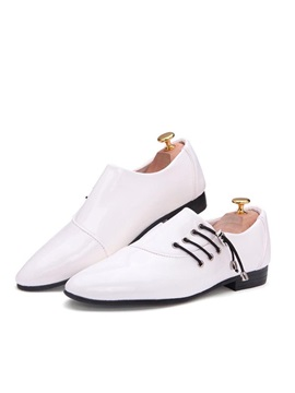 Pu Plain Toe Oblique Lace Up Dress Shoes