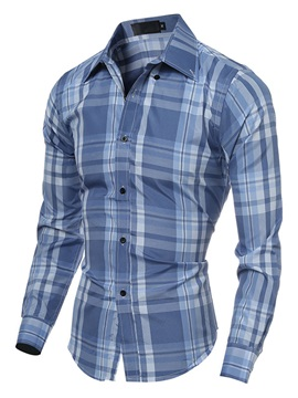 Color Block Plaid Design Lapel Mens Casual Shirt