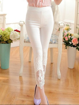Elegant Lace Designed Slim Leggings