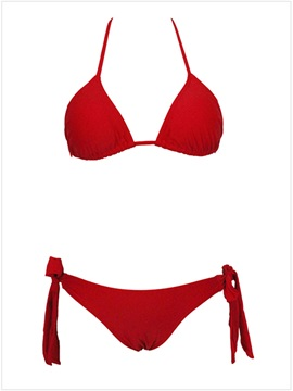 Fashion Red Lace Up Triangle Bikini