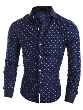 Heart Printed Single Breasted Mens Lapel Shirt
