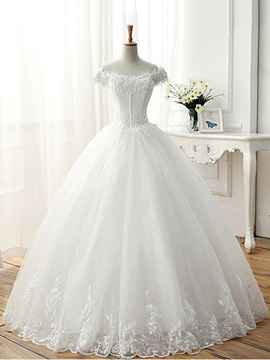 Lace Appliques Off The Shoulder Short Sleeve Ball Gown Wedding Dress