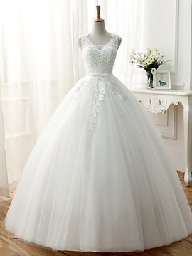 Beaded Lace V Neck Ball Gown Wedding Dress