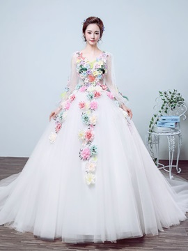 Floral V Neck Straps Color Ball Gown Wedding Dress
