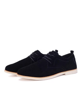 Suede Round Toe Square Heel Casual Shoes
