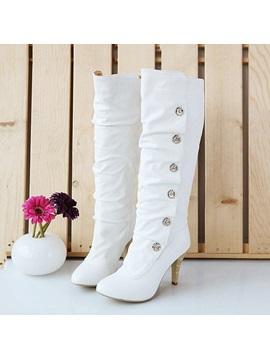 Solid Color Pu Round Toe Knee High Boots