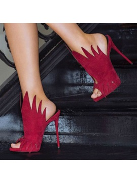 Red Peep Toe Stiletto Heel Prom Shoes