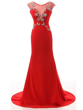 Graceful Scoop Neck Beading Mermaid Evening Dress