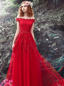 Off The Shoulder Appliques Beading Lace Up Red Evening Dress