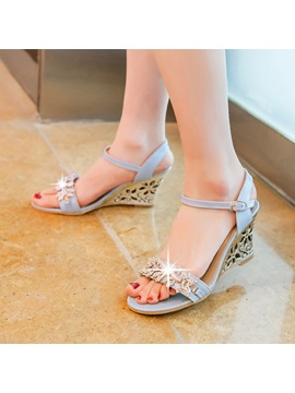 Rhinestone Open Toe Wedge Sandals