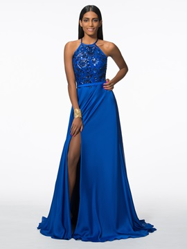Modern Split Front Sequins Evening Dress