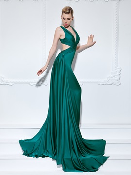 Sexy V Neck Pleats Hollow A Line Long Evening Dress
