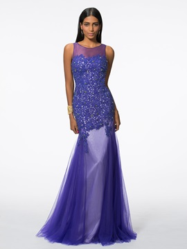 Graceful Straps Appliques Beading Mermaid Evening Dress