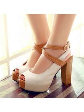 Color Block Peep Toe Chunky Heel Sandals