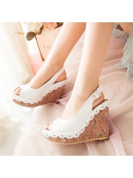 Pu Peep Toe Slingback Wedge Sandals