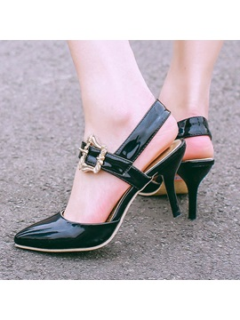 Pu Buckles Round Toe Sandals
