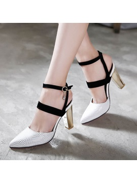 607c202ba7fc07 White Caged Chunky Block Heel Sandals   Tidebuy.com