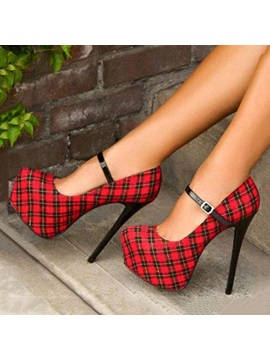 Plaid Stiletto Heel Platform Prom Shoes