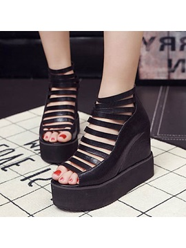 Pu Cut Out Elevator Heel Wedge Sandals