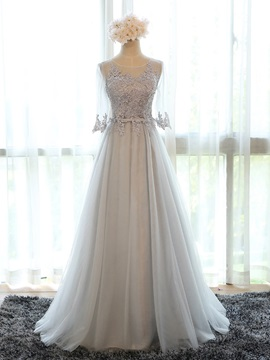 Lace Appliques Jewel Neck Half Sleeve Bridesmaid Dress