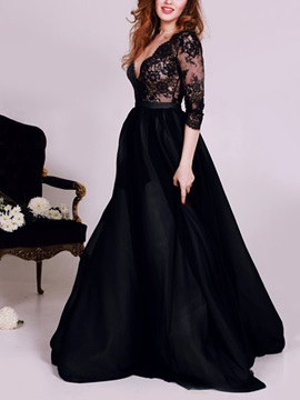 Vintage Deep V Neck 3 4 Length Sleeves Lace Evening Dress