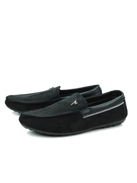 Solid Color Deco Zipper Suede Loafers