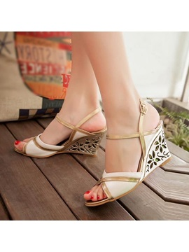 Pu Peep Toe Wedge Sandals