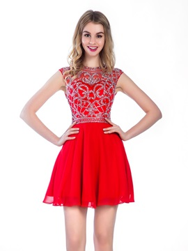 Modern Hollow Beading Short Red Homecoming Dress