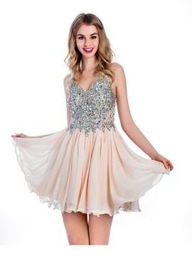 Straps A Line Beading Short Homecoming Dress