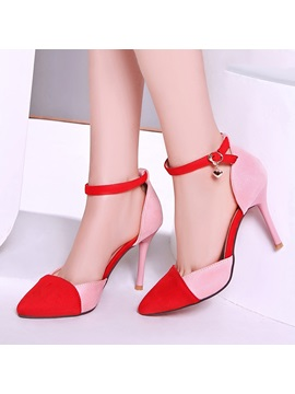 Suede Color Block Ankle Strap Classic Pumps