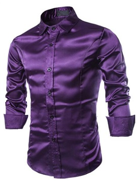 Solid Color Lapel Slim Fit Mens Tussah Shirt