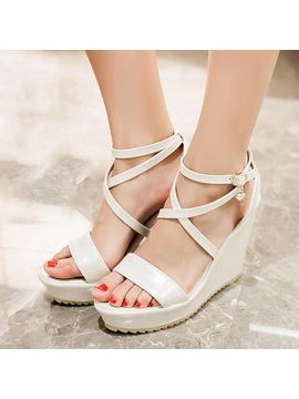 Pu Buckles Open Toe Wedge Sandals