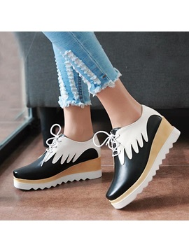 Color Block Pu Round Toe Lace Up Sneakers